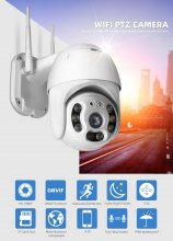 A6 Wireless WIFI PTZ IP Camera Outdoor 1080P Humanoid Detection Dome Camera ONVIF 2-Way Audio IR 30M Full Color Night Vision