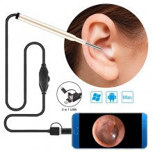 SN07 3-in-1 Ear Cleaning Endoscope Camera 3.9mm 720P HD 1.0 MP Borescope Inspection Camera Otoscope Visual Earpick Tool for Android