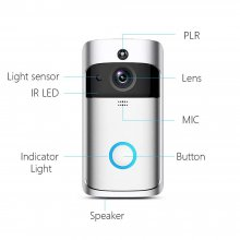 V5 WIFI Video Doorbell, Motion Detection Night Vision Smart Wireless Doorbell, Remote-control HD WIFI Security Camera, Real Time Two-way Audio 18650 Battery Power