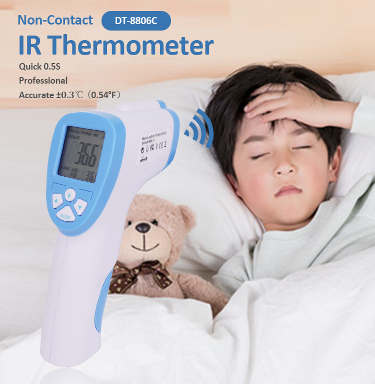 DT-8806C Infrared Thermometer Digital Electronic Forehead Thermometer Gun Ear Adult Body Fever IR Thermometer